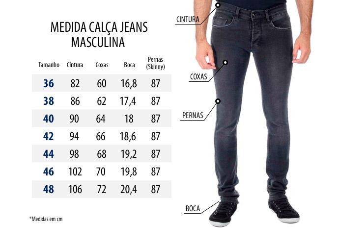 Guia de Medidas Calca Jeans Masculina