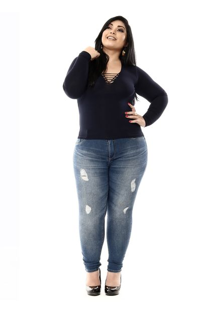 Calça Jeans Feminina Cigarrete Plus Size - 254547