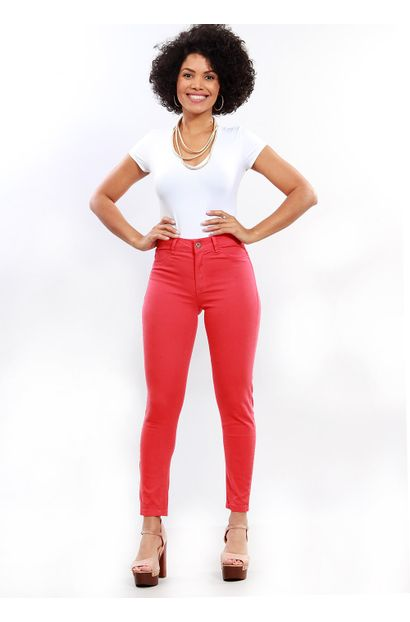 Calça Jeans Feminina Cigarrete Vermelha - 249758