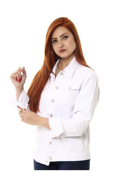 Jaqueta Jeans Feminina Branca - 254703