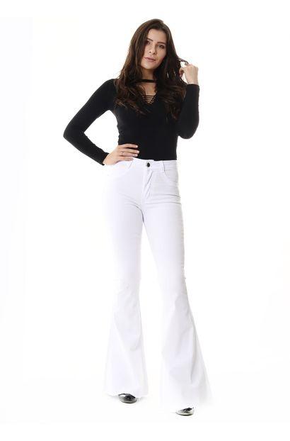 Calça Jeans Feminina Flare Branca - 254698