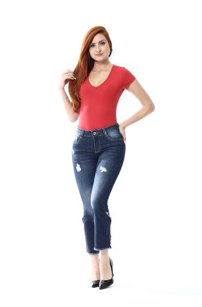 Calça Jeans Feminina Flare Pantacourt - 252420
