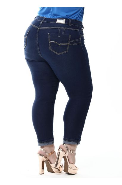 Calça Jeans Feminina Cropped Plus Size - 255154