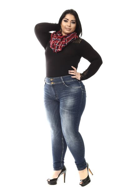 Calça Jeans Feminina Skinny Plus Size - 255144