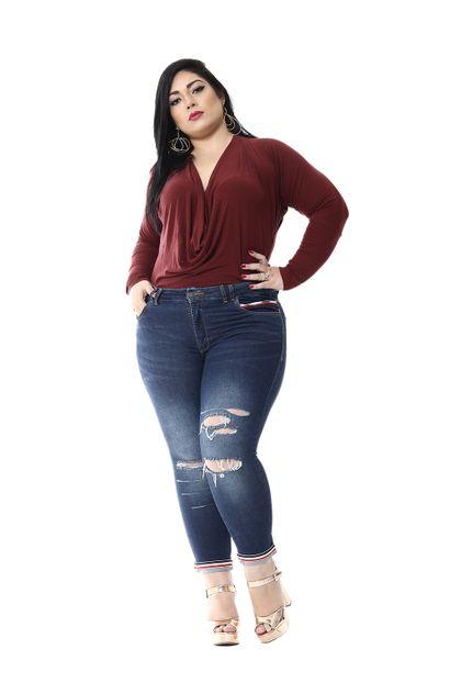 Calça Jeans Feminina Cropped Plus Size - 254550
