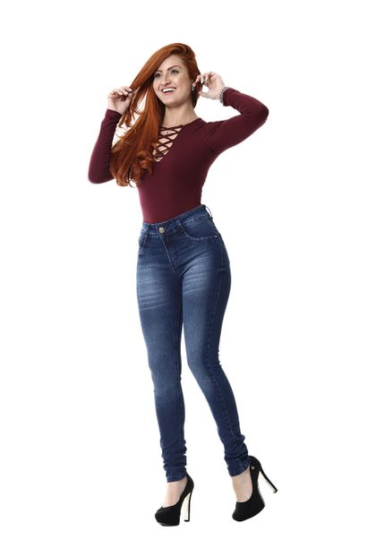 Calça Jeans Feminina Skinny Intermediaria - 255385