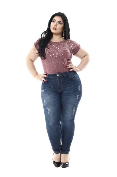 Calça Jeans Feminina Cigarrete Plus Size - 255514