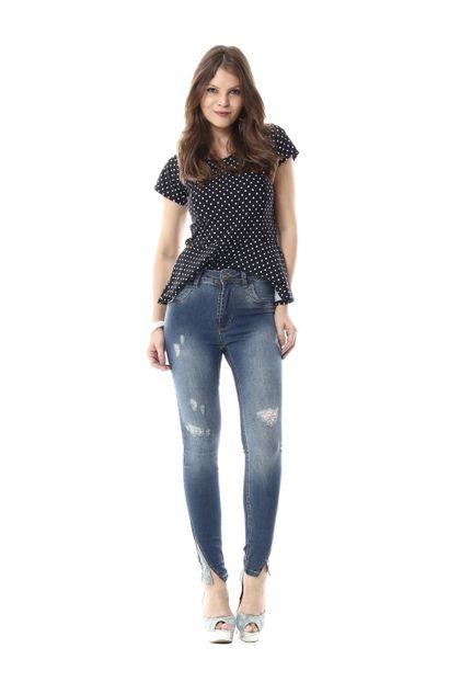 Calça Jeans Feminina Cigarrete Hot Pants - 255356