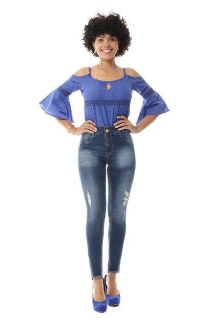 Calça Jeans Feminina Cigarrete Intermediaria - 255755