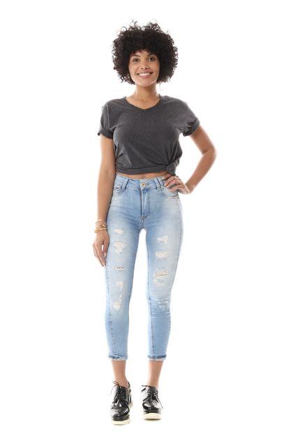 Calça Jeans Feminina Cropped - 255538