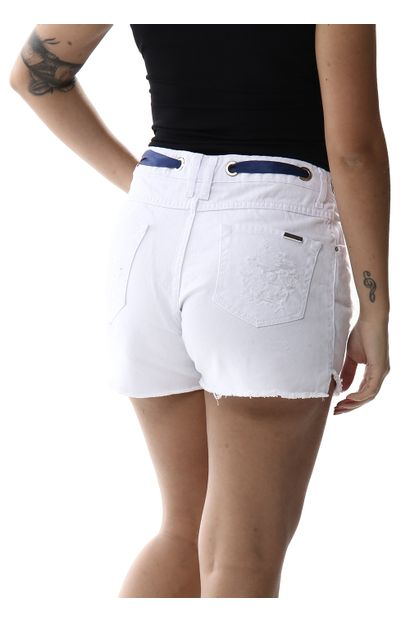Shorts Jeans Feminino Boyfriend Branco - 256236