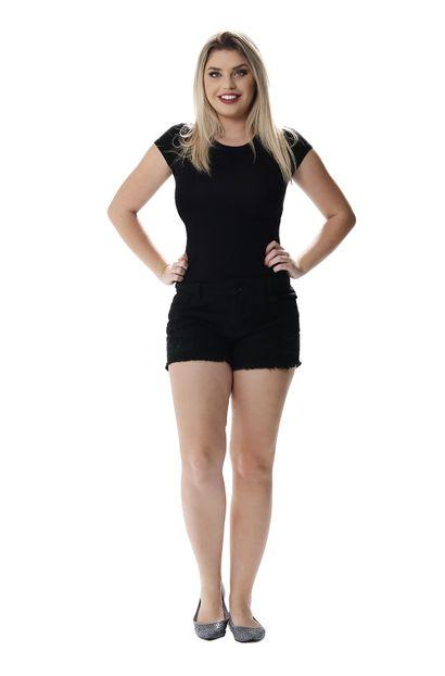 Shorts Jeans Feminino Boyfriend Black - 256861