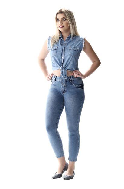 Calça Jeans Feminina Cropped Levanta Bumbum - 256458