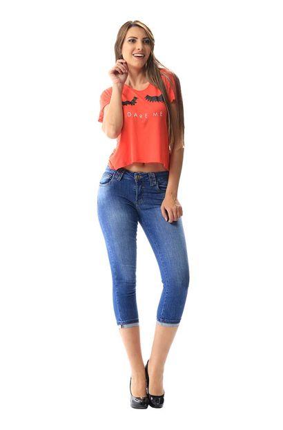 Calça Jeans Feminina Cropped - 256210