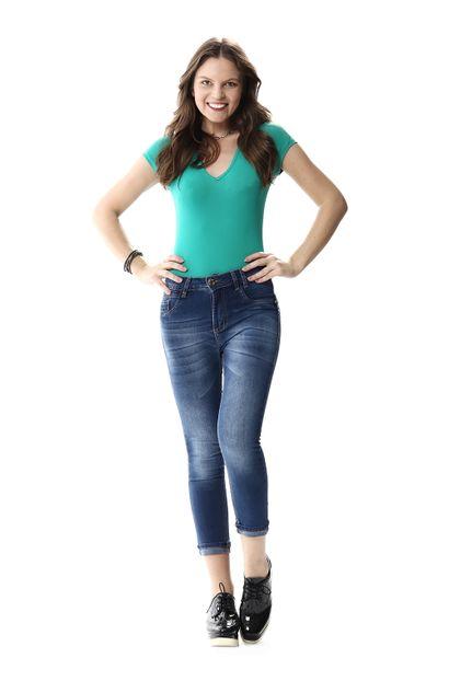 Calça Jeans Feminina Cropped Intermediaria - 256219