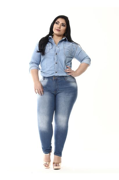 Calça Jeans Feminina Cigarrete Plus Size - 255287