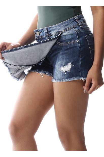 Short Saia Jeans Feminino - 256584