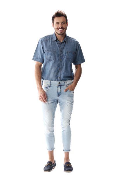 Calça Jeans Masculina Cropped - 256652