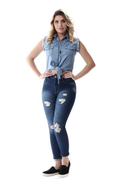 Calça Jeans Feminina Cropped Super Lipo - 257064