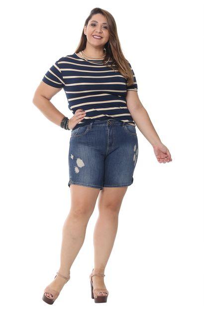 Bermuda Jeans Feminina Plus Sizer - 252144