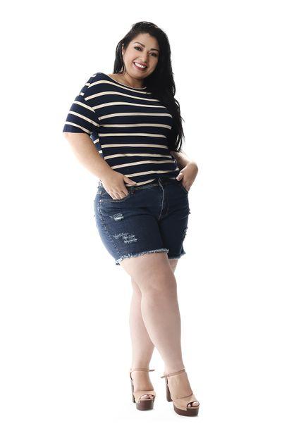 Shorts Jeans Feminino Plus Size - 257176