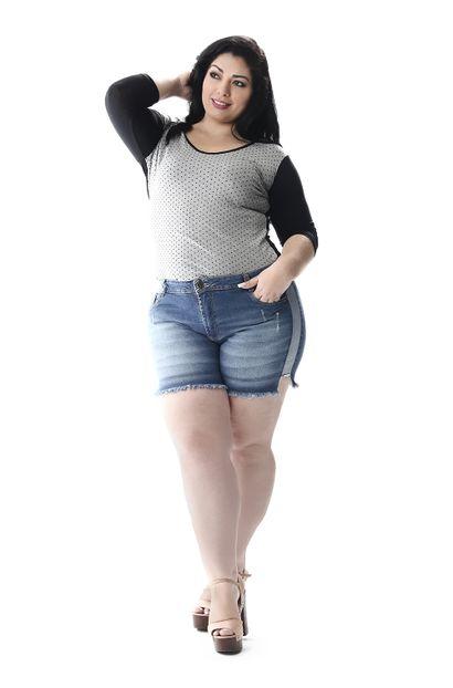 Shorts Jeans Feminino Plus Size - 257180