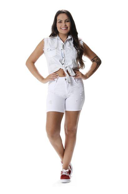 Bermuda Jeans Feminina Intermediaria Branco - 257468