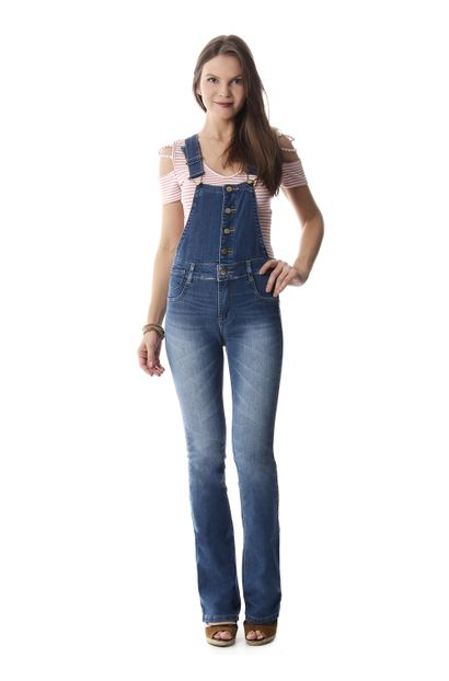 Macacão Jeans Feminino Flare - 258083