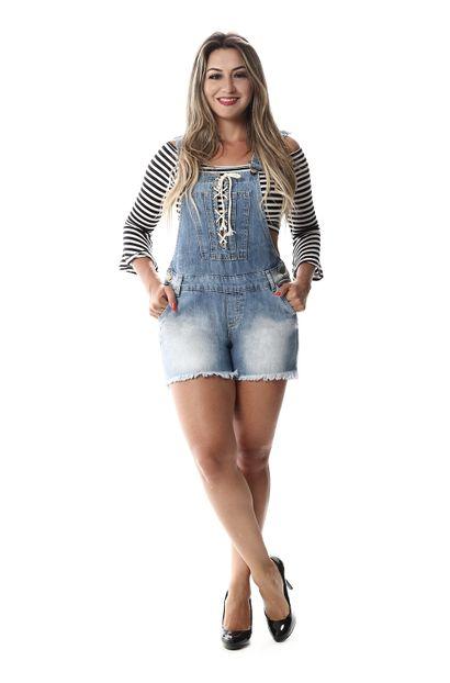 Jardineira Jeans Feminina - 257083