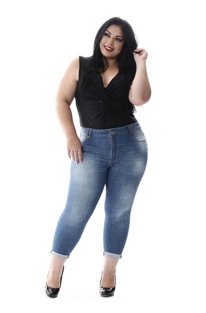 Calça Jeans Feminina Cropped Plus Size - 258427