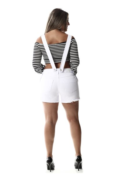 Jardineira Jeans Feminina Branca - 257514
