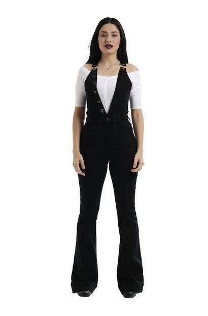 Macacão jeans Feminino Flare Preto - 258742