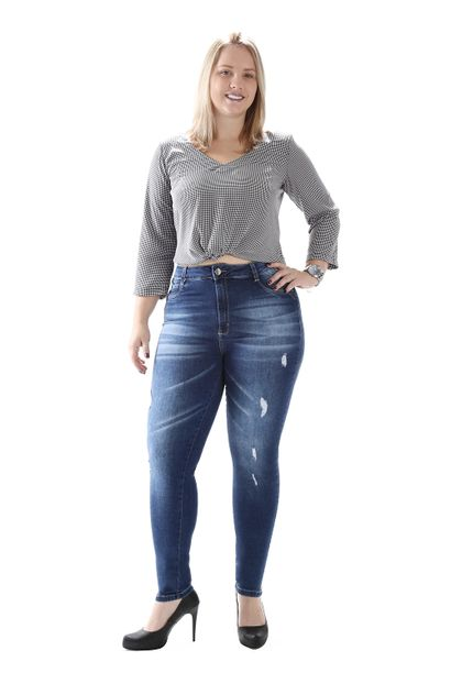 Calça Jeans Feminina Cigarrete Plus Size - 259296