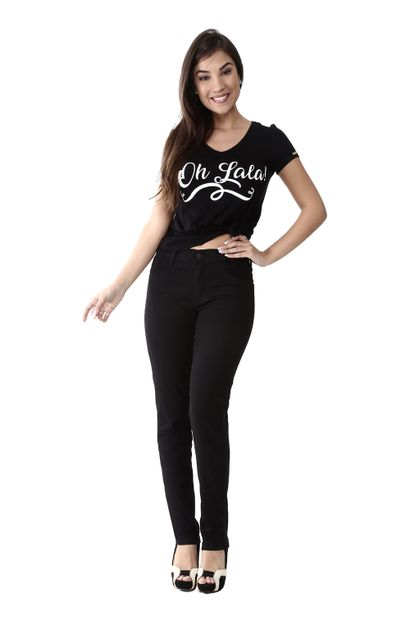 Calça Jeans Feminina Legging Hot Pants Preta - 259971