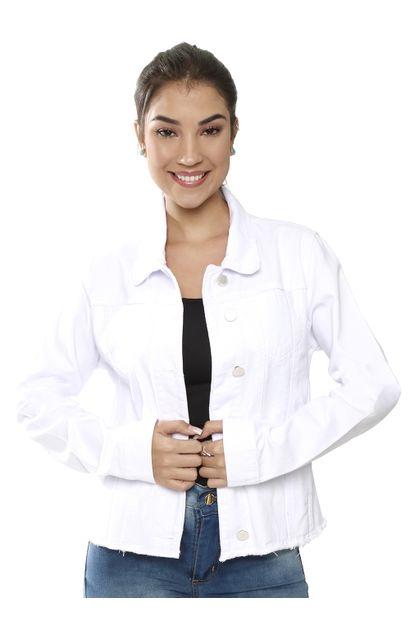 Jaqueta Jeans Feminina Branca - 259513