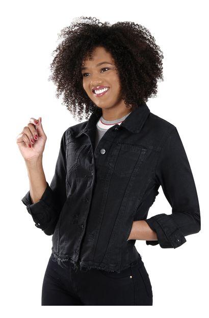 Jaqueta Jeans Feminina Preta - 260474