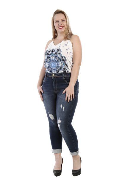 Calça Jeans Feminina Cropped Plus Size - 260660