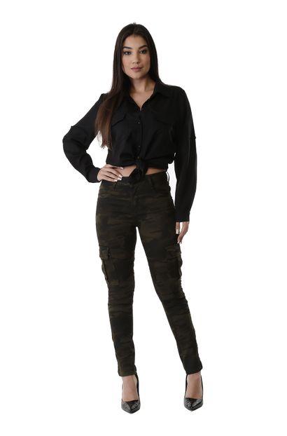 Calça Jeans Feminina Cigarrete Camuflada - 260819