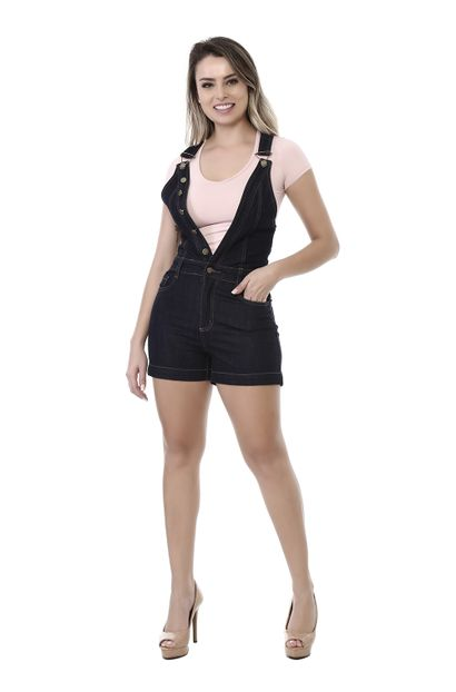 Macacão Jeans Feminino Azul - 261818
