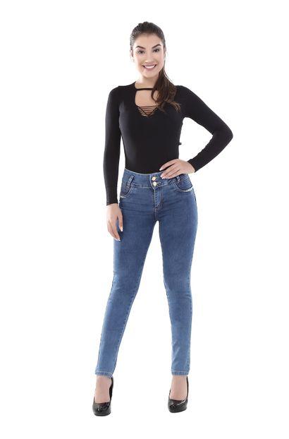 Calça Jeans Feminina Skinny Modela Bumbum - 261539