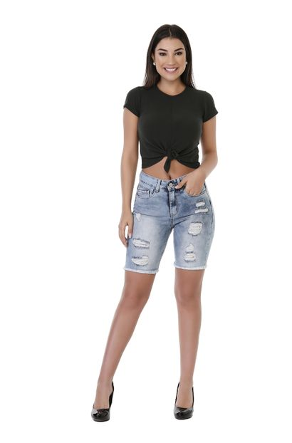 Bermuda Jeans Feminina Destroyed - 261135